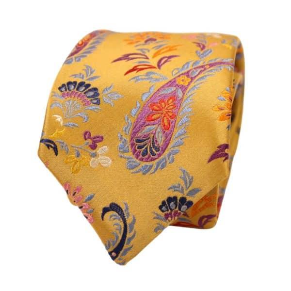 Van Buck Paisley Flower Tie Yellow 2
