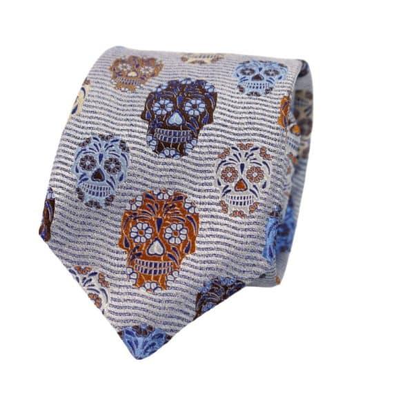Van Buck Skulls Tie blue