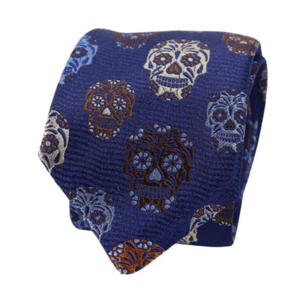 Van Buck Skulls tie dark blue