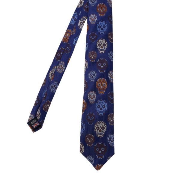 Van Buck Skulls tie dark blue main