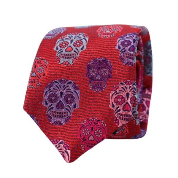 Van Buck Skulls tie red