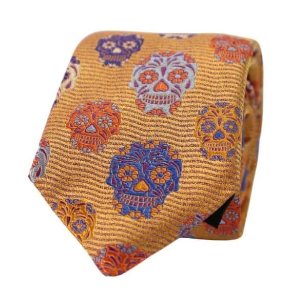 Van Buck Skulls tie yellow