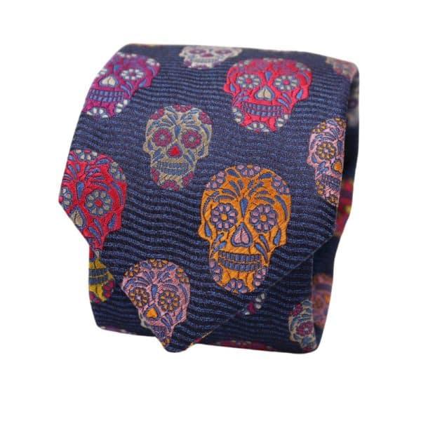 Van Buck Tie Skull Blue
