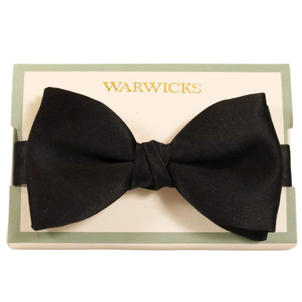Warwicks bow tie black satin