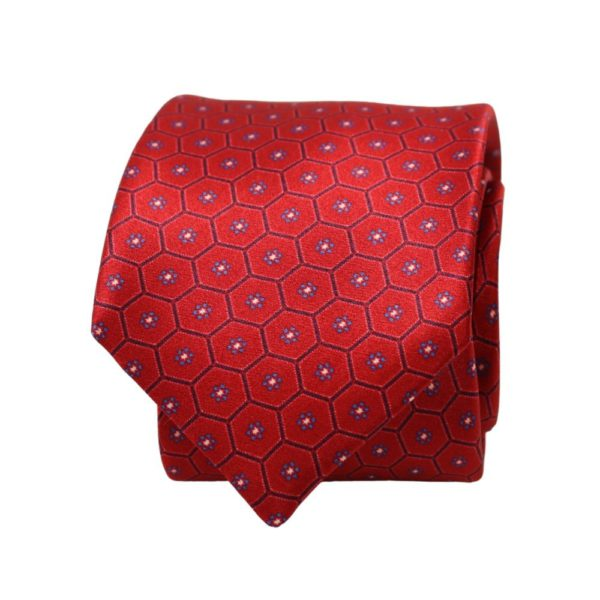 Warwicks honeycomb flower tie red 2