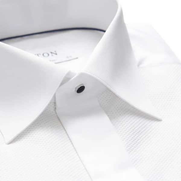 White Pique Black Tie Shirt collar