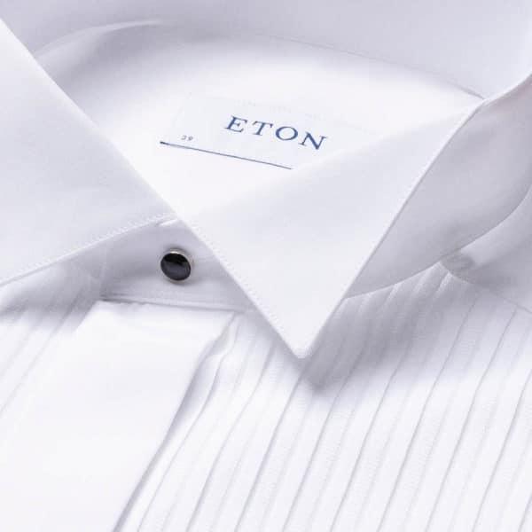 White Plissé Evening Shirt collar