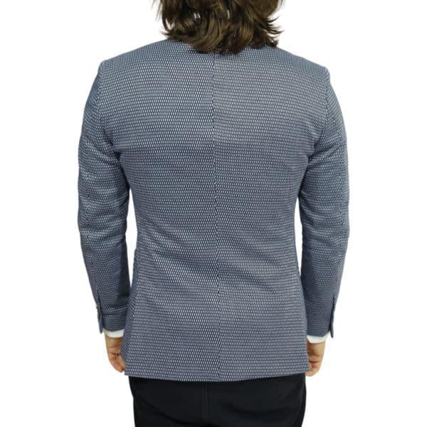 british indigo jacket navy textured pattern back