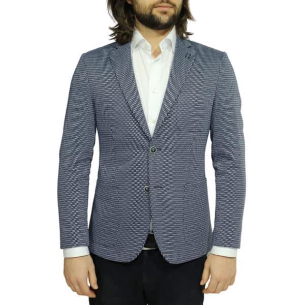 british indigo jacket navy textured pattern front