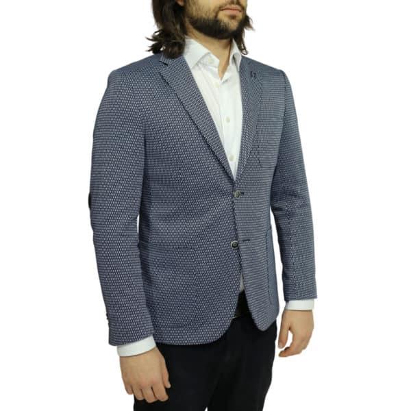 british indigo jacket navy textured pattern side