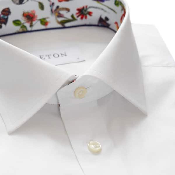 eton contemporary fit contrast collar shirt white collar