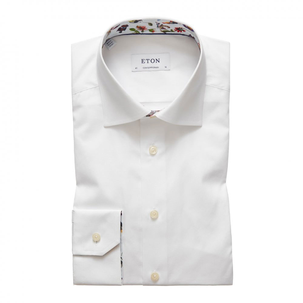 eton contemporary fit contrast collar shirt white