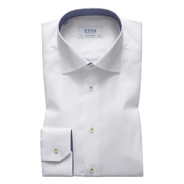eton shirts contemporary fit white eton shirt with micro panda trim