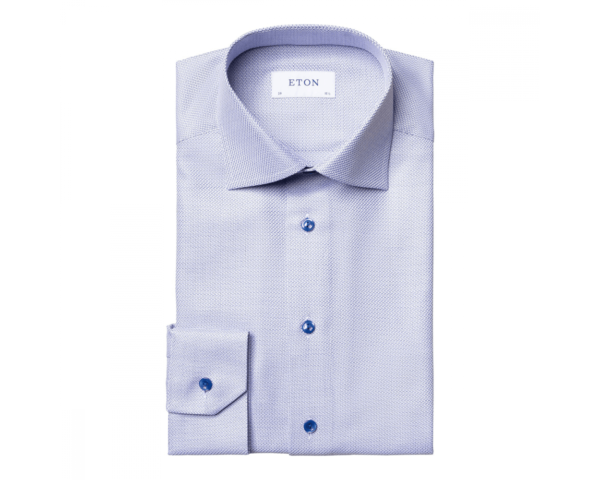 eton blue zic zac contemporary fit king twill shirt