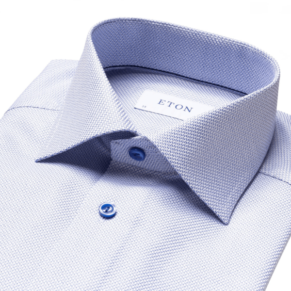 eton blue zic zac contemporary fit king twill shirt collar 1