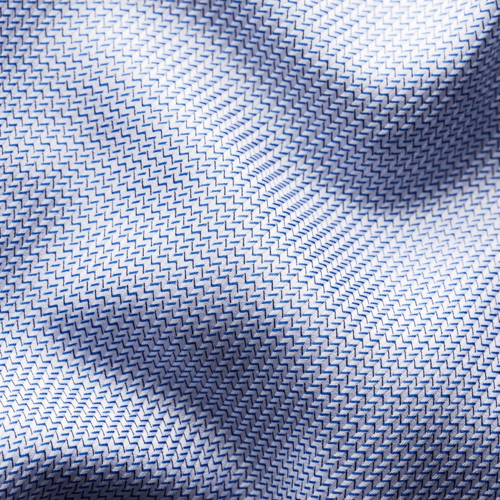 eton blue zic zac contemporary fit king twill shirt fabric 1