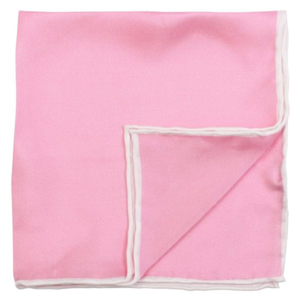 Amanda Christensen plain Printed Pink Pocket Square with piping