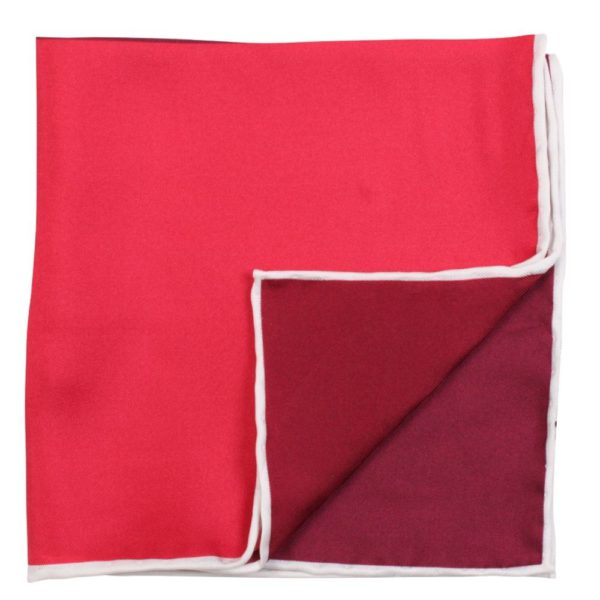 Amanda Christensen plain Printed red Pocket Square with piping