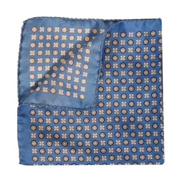 Amanda Christensen pocket square blue silk