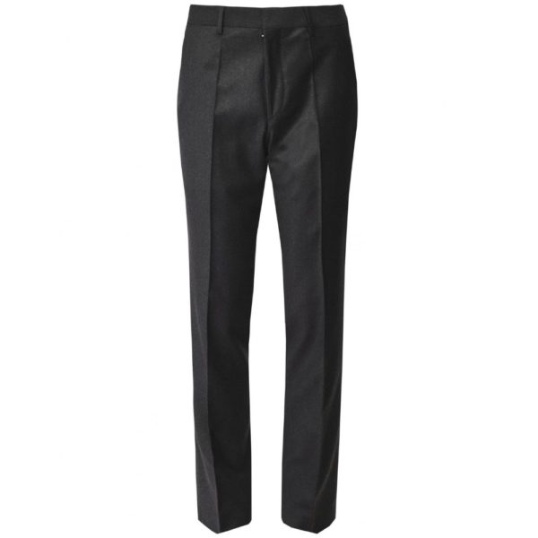 BOSS CHARCOAL FINE FLANNEL WOOL TROUSER