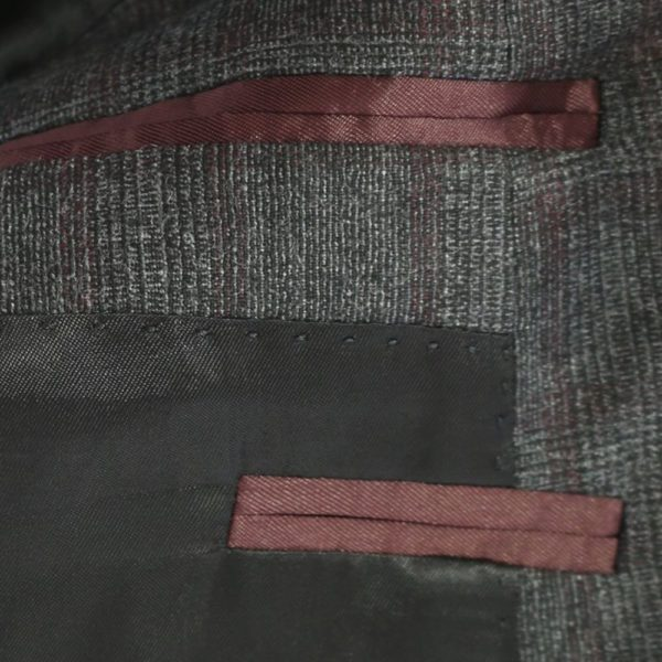 BOSS GREY RED CHECK SUIT 2