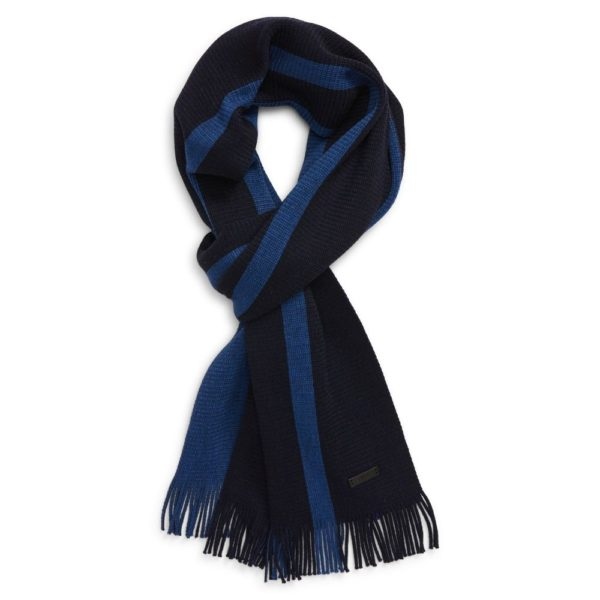 BOSS NAVY BLUE STRIPED SCARF 1