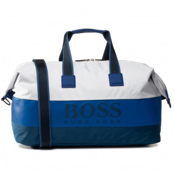 BOSS PIXEL ST HOLDALL BAG IN BLUE AND WHITE