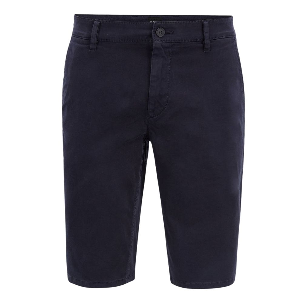 BOSS Slim fit chino shorts in double dyed stretch satin in Navy