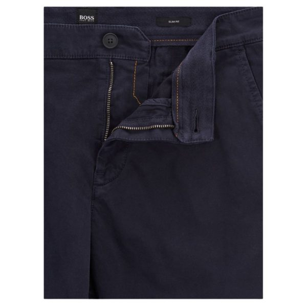 BOSS Slim fit chino shorts in double dyed stretch satin in Navy1