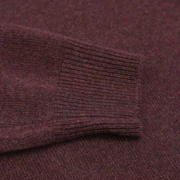 Baileys burgundy v neck jumper close up