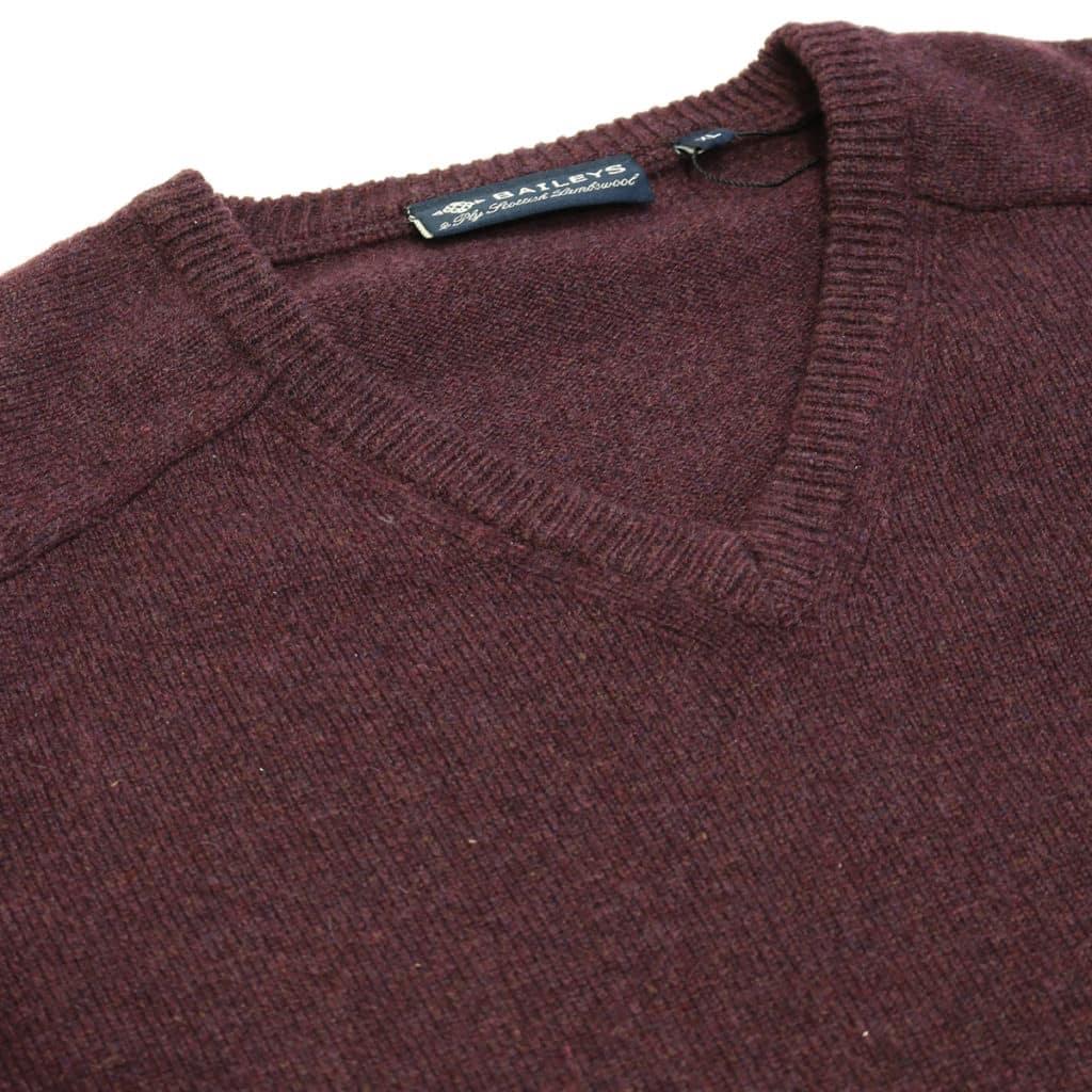 Baileys burgundy v neck jumper close up2