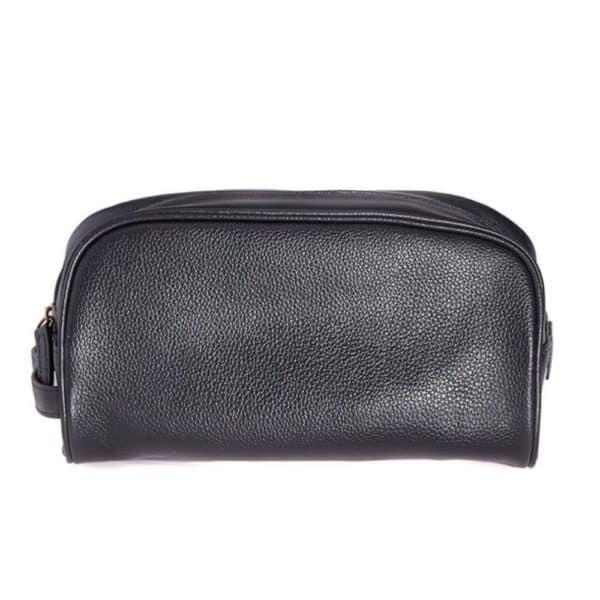 Barbour Washbag leather black back