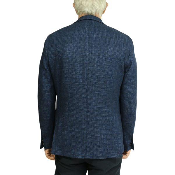 Blue textured blazer jacket back