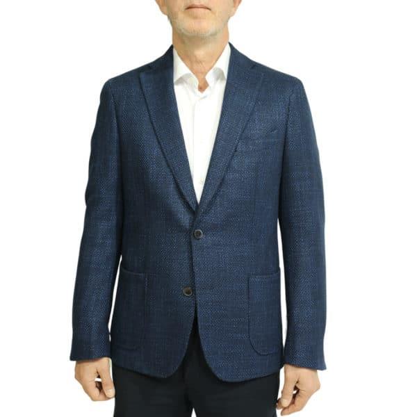 Blue textured blazer jacket front