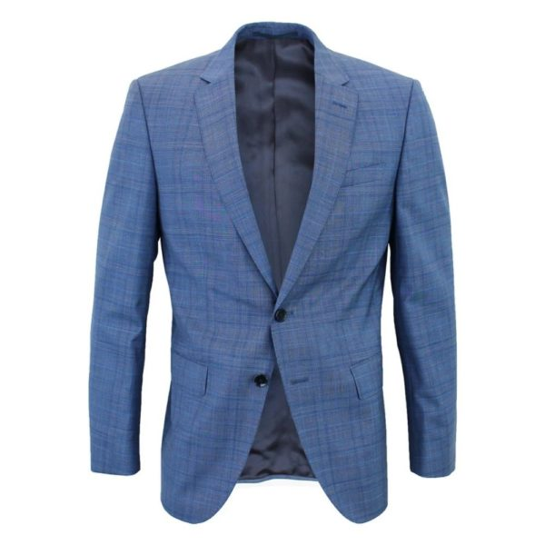 Boss blue suit jacket with check pattern
