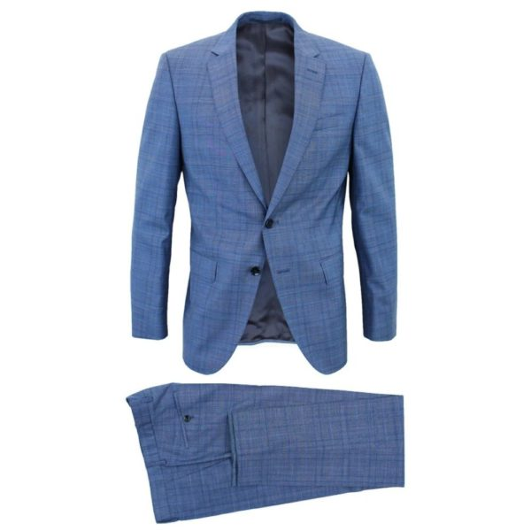 Boss blue suit with check pattern main