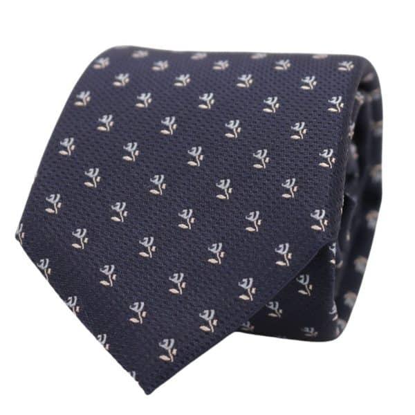 Boss tie navy white flower2