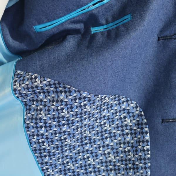 British Indigo Blue jacket detail button lining