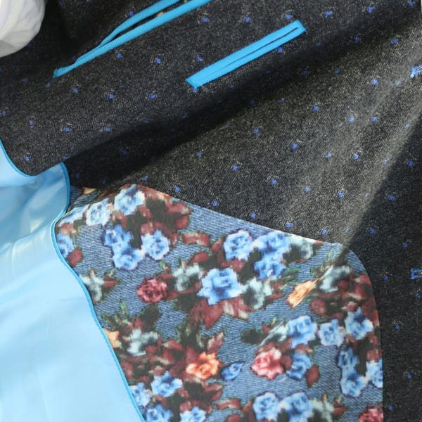 British Indigo Grey blazer blue polka dot pattern lining detail