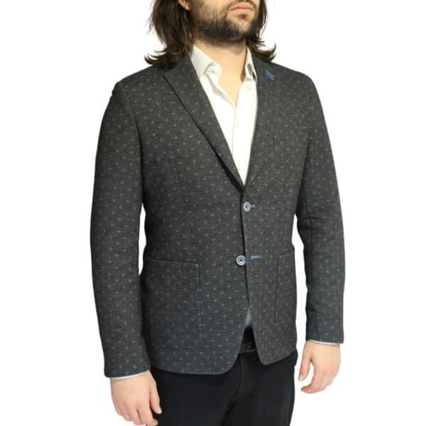 British Indigo Grey blazer blue polka dot pattern side