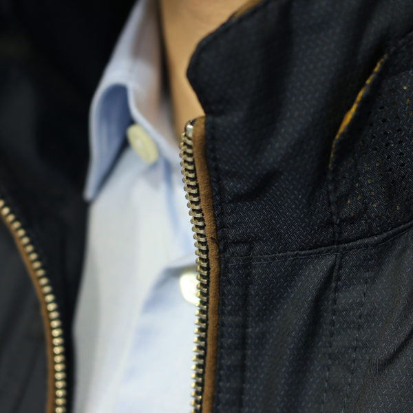 Bugatti rain jacket navy collar detail