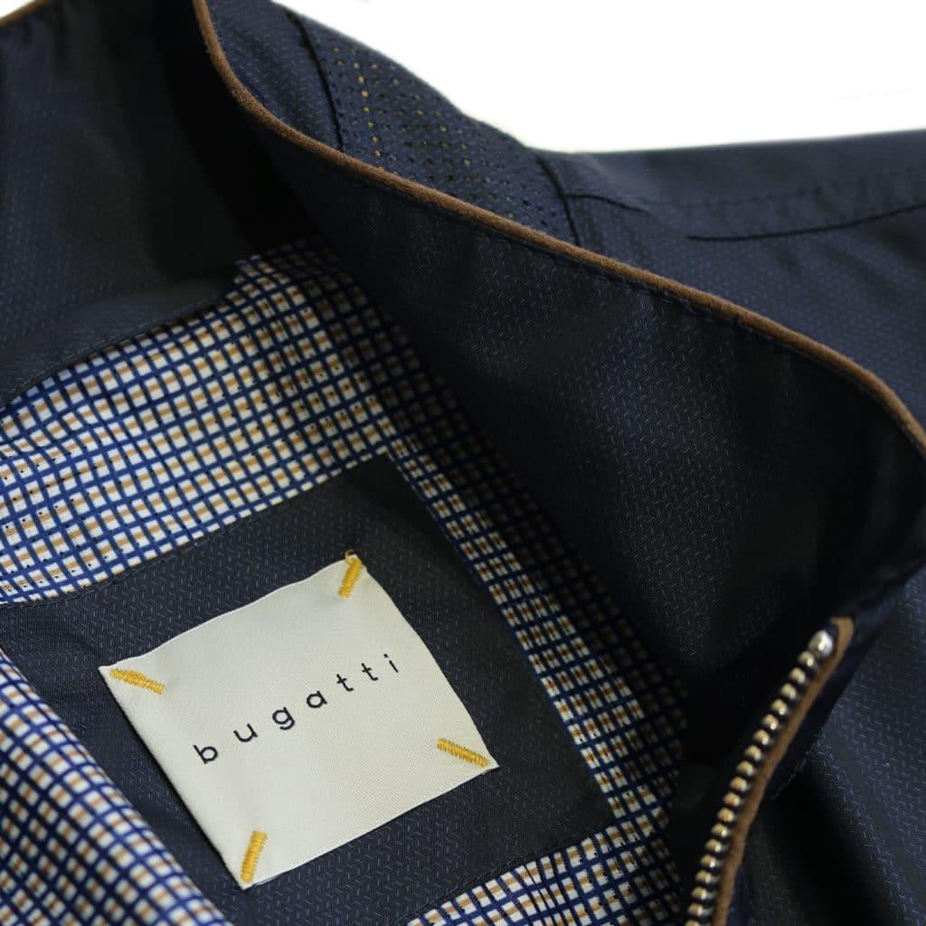 Bugatti rain jacket navy logo detail