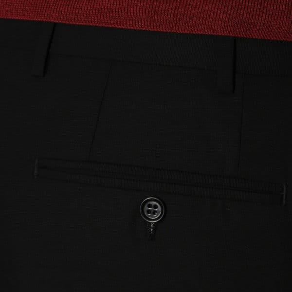 CANALI FORMAL WOOL TROUSERS BLACK back pocket detail