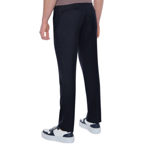 CANALI FORMAL WOOL TROUSERS IN NAVY back