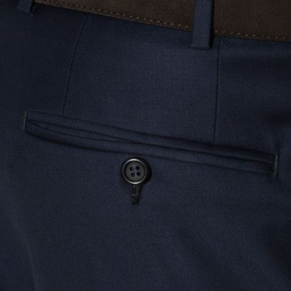 CANALI FORMAL WOOL TROUSERS IN NAVY back pocket detail