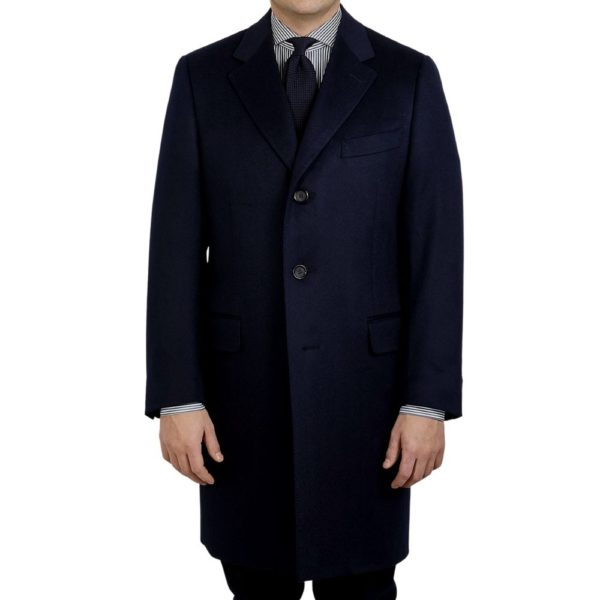 CANALI NAVY WOOL CASHMERE OVERCOAT