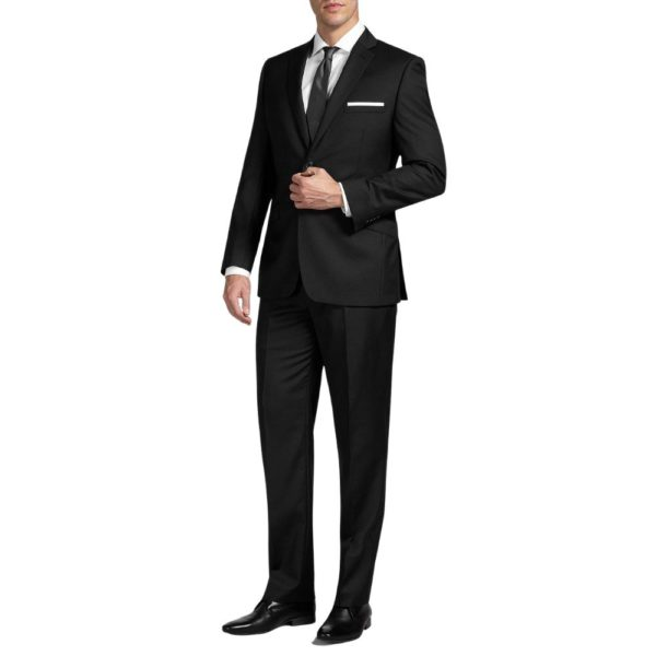 CANALI PURE WOOL FINE PINSTRIPE SUIT IN NAVY