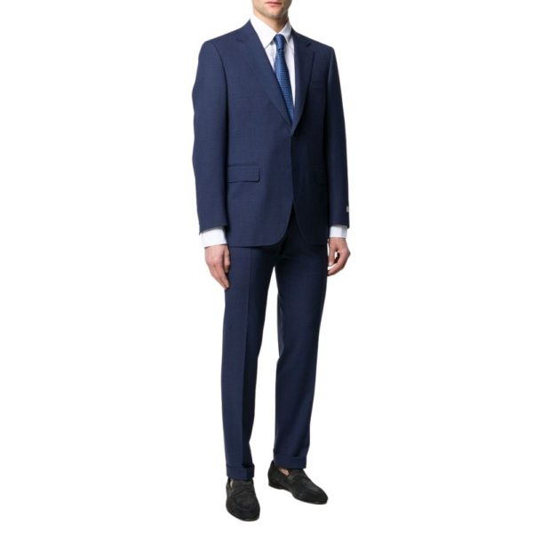 CANALI PURE WOOL MICRO CHECK IN ROYAL BLUE