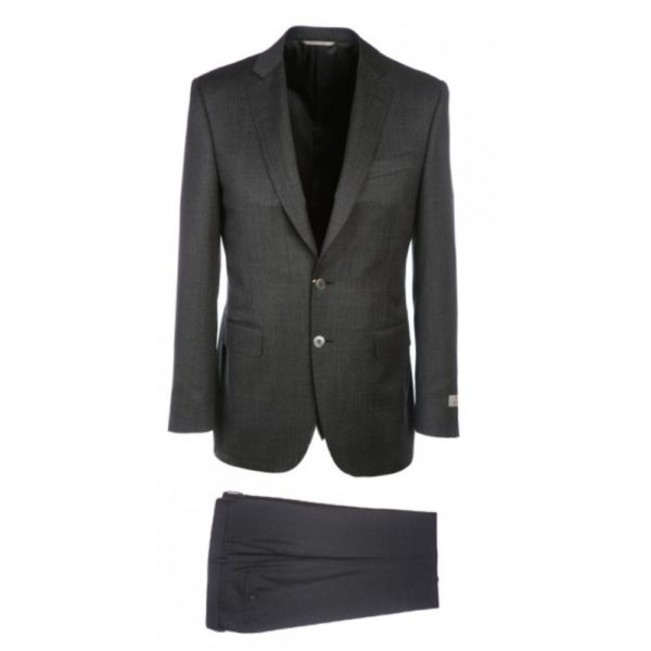 CANALI PURE WOOL PINHEAD SUIT IN CHARCOAL