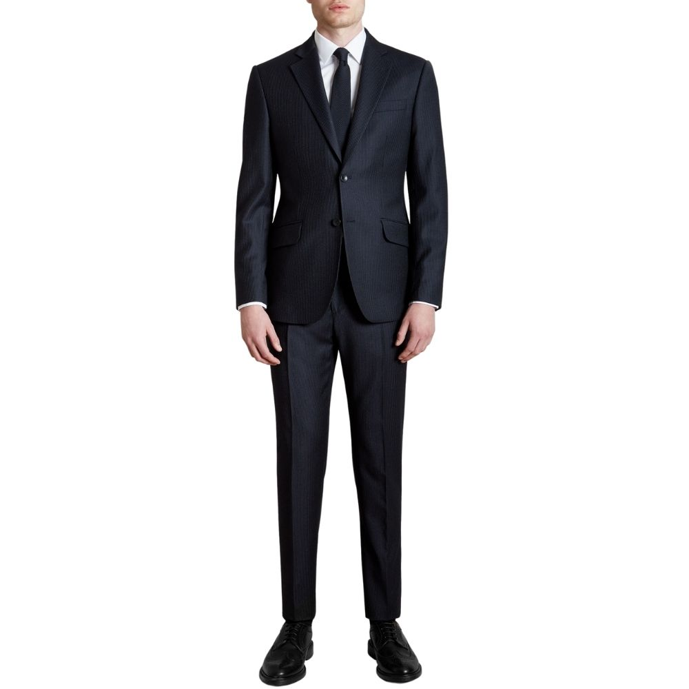 CANALI PURE WOOL SHADOW PINSTRIPE IN NAVY